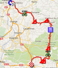 The map with the race route of the 5th stage of Paris-Nice 2016 on Google Maps