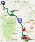 The race route of the 3rd stage of Paris-Nice 2017 on Google Maps