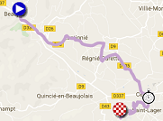 The race route of the 4th stage of Paris-Nice 2017 on Google Maps