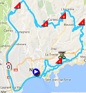 The race route of the 8th stage of Paris-Nice 2017 on Google Maps