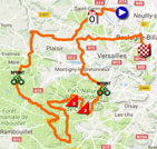 The map with the race route of the 1st stage of Paris-Nice 2018 on Google Maps
