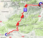 The map with the race route of the 5th stage of Paris-Nice 2018 on Google Maps