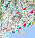 The map with the race route of the 8th stage of Paris-Nice 2018 on Google Maps
