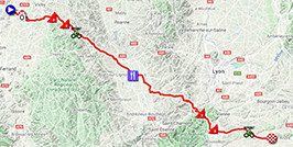 The map with the race route of the fifth stage of Paris-Nice 2020 on Open Street Maps