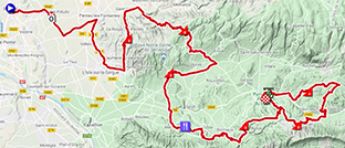 The map with the race route of the sixth stage of Paris-Nice 2020 on Open Street Maps