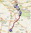 La carte du parcours de Paris-Roubaix 2015 sur Google Maps