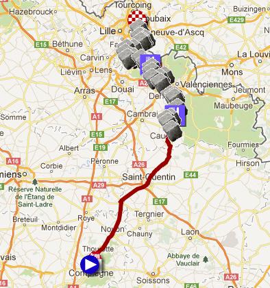 Le parcours de Paris-Roubaix 2013