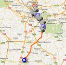 La carte du parcours de Paris-Roubaix 2014 sur Google Maps