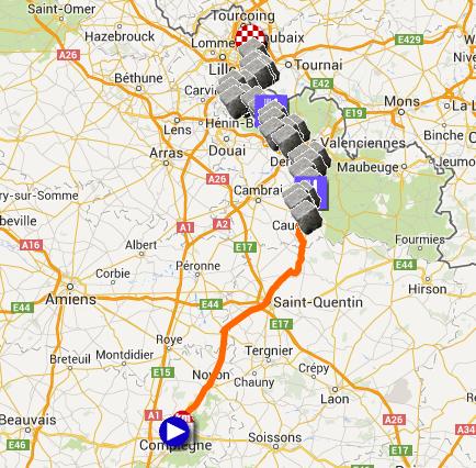 Le parcours de Paris-Roubaix 2014