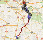 The map with the Paris-Roubaix 2016 race route on Google Maps