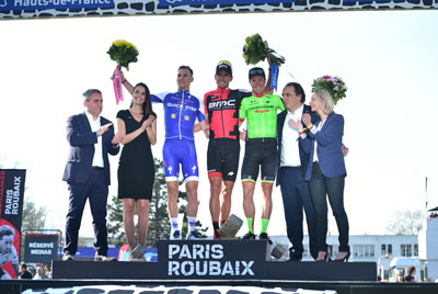 Le podium de Paris-Roubaix 2017