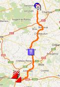 La carte du parcours de Paris-Tours 2012 sur Google Maps