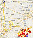 De kaart met het parcours van de Ronde van Vlaanderen 2014 op Google Maps