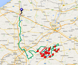 The map with the Tour of Flanders 2015 race route on Google Maps