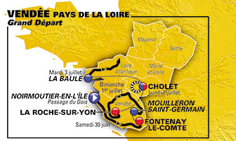 The details of the Grand Départ of the Tour de France 2018 in the Vendée department in France