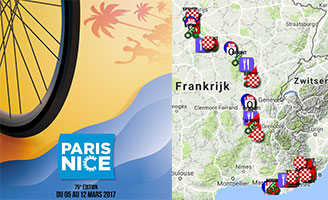The Paris-Nice 2017 race route on Google Maps/Google Earth, profiles and time- and route schedules