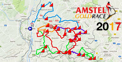 The Amstel Gold Race 2017 race route on Google Maps/Google Earth and the time- and route schedule