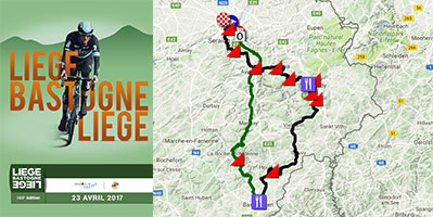The Liège-Bastogne-Liège 2017 race route on Google Maps/Google Earth: the 103rd 'Doyenne'!