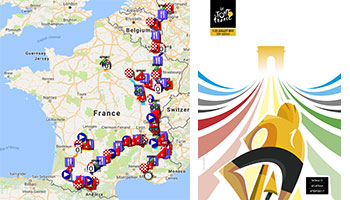 The Tour de France 2017 race route in Google Maps/Google Earth