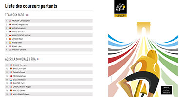 The participants list of the Tour de France 2017 and their bib numbers