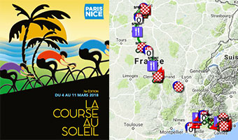 The Paris-Nice 2018 race route on Google Maps/Google Earth, stage profiles and time- and route schedules