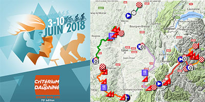 The Critérium du Dauphiné 2018 race route on Google Maps/Google Earth, the time- and route schedules, profiles and maps