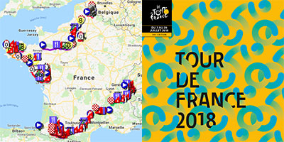 The Tour de France 2018 race route in Google Maps/Google Earth, time- and route schedules and stage profiles