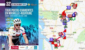 Le parcours du Tour du Poitou Charentes 2018 sur Google Maps