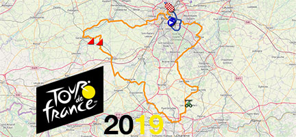 The race route of the first stages of the Tour de France 2019 on Open Street Maps/Google Earth