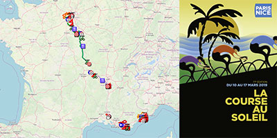The Paris-Nice 2019 race route on Open Street Maps/Google Earth, stage profiles and time- and route schedules