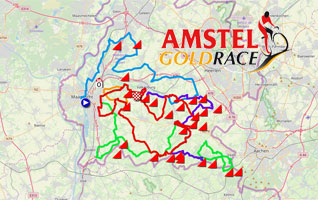 The Amstel Gold Race 2019 race route on Open Street Maps/Google Earth and the time- and route schedule
