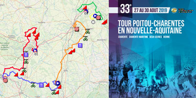 The Tour Poitou-Charentes en Nouvelle-Aquitaine 2019 race route on Open Street Maps/Google Earth, stage profiles and time- and route schedules