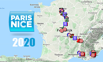 The Paris-Nice 2020 race route on Open Street Maps and in Google Earth, stage profiles and time- and route schedules