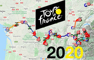 The Tour de France 2020 race route on Open Street Maps and in Google Earth, stage profiles and time- and route schedules
