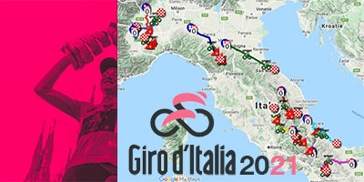The Tour of Italy 2021 on Open Street Maps and in Google Earth, stage profiles and time- and route schedules