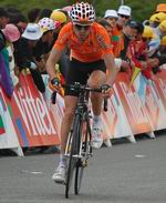 Samuel Sanchez wins the road race at the Olympic Games in Beijing