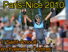 Greg Henderson (Team Sky) wins the first stage of Paris-Nice 2010 (Saint-Arnoult-en-Yvelines > Contres), Lars Boom remains the leader of all classifications