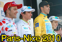 Alberto contador (Astana) wins Paris-Nice 2010, Amaël Moinard (Cofidis) the sprint for the last stage and the polka dot jersey