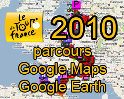 The 2010 Tour de France route on Google Maps/Google Earth and the route and time schedule