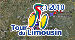 The 2010 Tour du Limousin route on Google Maps/Google Earth and the route and time schedule