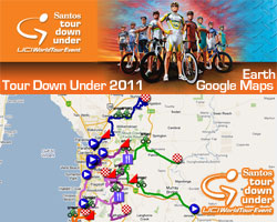 Le parcours du Santos Tour Down Under 2011 sur Google Maps/Google Earth