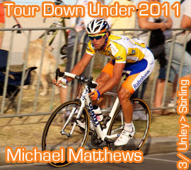 Neo-pro Michael Matthews (Rabobank) wins the 3rd stage of the 2011 Santos Tour Down Under 2011, Goss takes back the lead