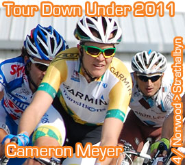 Cameron Meyer (Garmin-Cervélo): yet another young rider who wins in the 2011 Santos Tour Down Under 2011 and takes over the lead