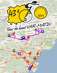 The 2011 Tour du Haut Var race route on Google Maps / Google Earth