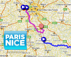 The 2011 Paris-Nice race route on Google Maps/Google Earth