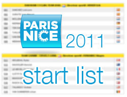 The list of participating riders in 2011 Paris-Nice and their numbers