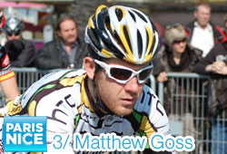 Matthew Goss (HTC-Highroad) takes a double win at the finish of the 3rd stage of Paris-Nice 2011