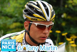 The big favourite Tony Martin (HTC-Highroad) wins the individual time trial in Paris-Nice 2011 and takes over the yellow jersey