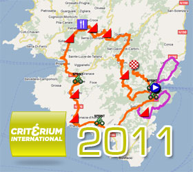The Critérium International 2011 race route on Google Maps/Google Earth