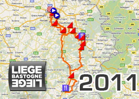 The Liège-Bastogne-Liège 2011 race route on Google Maps/Google Earth and the route and time schedule